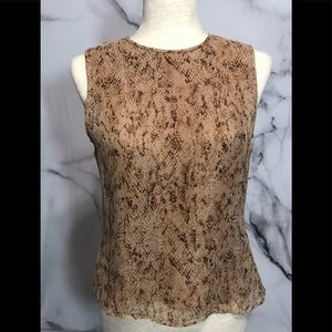 Allison Taylor Sleeveless 100% Silk Snakeskin Tank